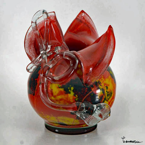 Misu Coman Hand Blown Glass Vase Sculpture Artist Hand Signed