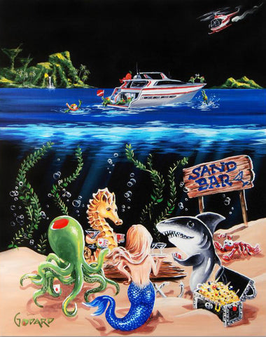 Sand Bar I Michael Godard Artist Proof Canvas Giclee Print Hand Embellished with Artist Authorized Signature