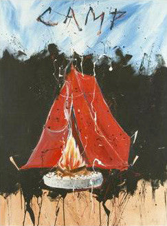Camp Marta Wiley Original Fine Art Mixed Media Painting Artist Hand Signed