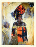 African Daughter Marta Wiley Mixed Media Serigraph Print Artist Hand Signed and Numbered