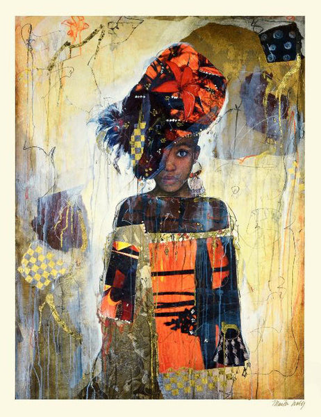 African Daughter Marta Wiley Fine Art Mixed Media Serigraph Print Artist Hand Signed and Numbered
