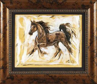 Horses Running III Marta Wiley Original Mixed Media Painting on Canvas Artist Hand Signed Framed