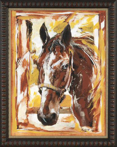 Stable V Marta Wiley Original Mixed Media Painting on Canvas Artist Hand Signed and Framed