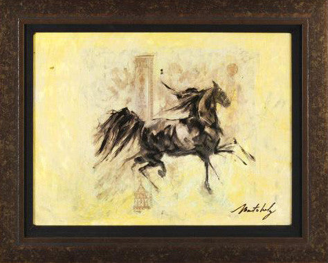 Horses Running V Marta Wiley Original Mixed Media Painting on Canvas Artist Hand Signed Framed
