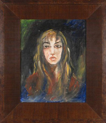 Portrait Marta Wiley Mixed Media Painting on Board Artist Hand Signed Framed