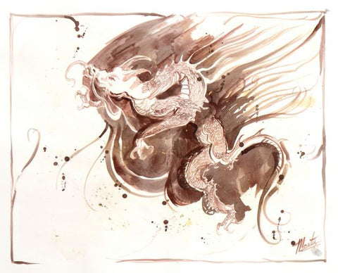 Marta Wiley Dragon Original Fine Art Mixed Media Ink Sketch Artist Hand Signed and Thumb Printed
