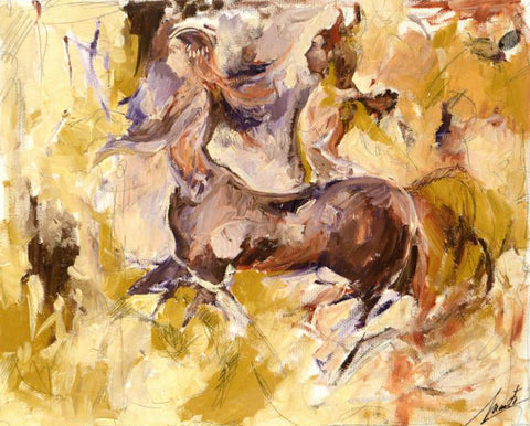 Centaurs Marta Wiley Original Fine Art Oil Painting on Canvas Artist Hand Signed and Thumb Printed