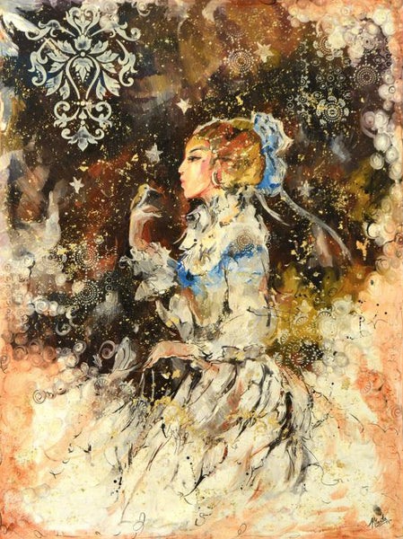 White Dress Marta Wiley Original Oil Painting on Canvas Artist Hand Signed and Thumb Printed