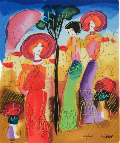 Afternoon Walk Moshe Leider Fine Art Serigraph Print Artist Hand Signed and Numbered