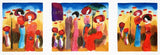 Sunny Afternoon Moshe Leider Fine Art Triptych Serigraph Print Artist Hand Signed and Numbered