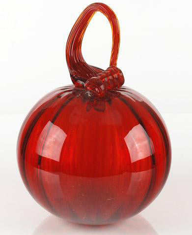 Mariusz Rynkiewicz Hand Blown Glass Pumpkin Fine Art Sculpture Artist Hand Signed
