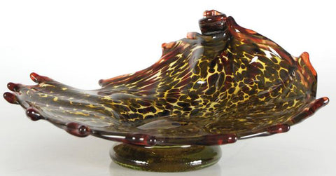 Mariusz Rynkiewicz Hand Blown Fine Art Glass Platter Sculpture Artist Hand Signed