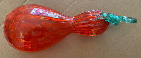 Mariusz Rynkiewicz Hand Blown Glass Pumpkin Sculpture Artist Hand Signed