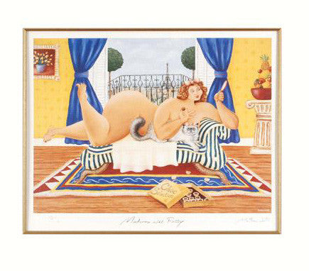 Madonna avec Pussy Matthew Watts Lithograph Print Artist Hand Signed Numbered and Matted