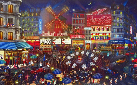 Moulin Rouge Alexander Chen Fine Art Canvas Mixed Media Print Artist Hand Signed and Numbered
