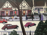 Christmas In Cambria Nobuo Watanabe Serigraph Print Artist Hand Signed and Roman Numeral Numbered