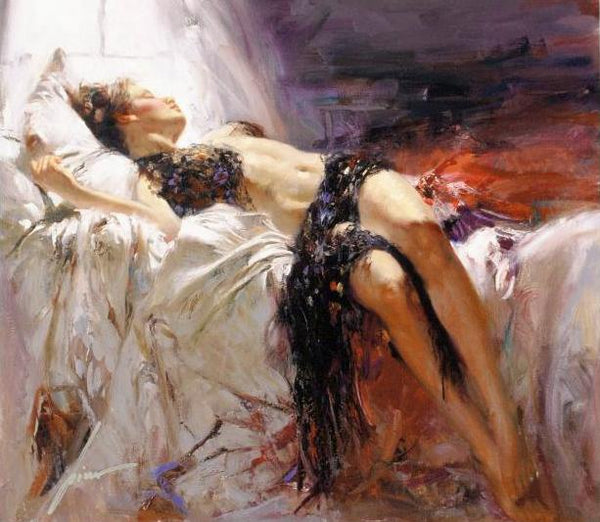 Morning Dreams Pino Daeni Canvas Giclee Print Artist Hand Signed and Numbered
