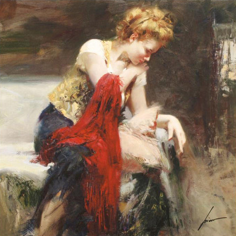 Pino Daeni Anticipation Fine Art Giclee Print Artist Hand Signed and Numbered