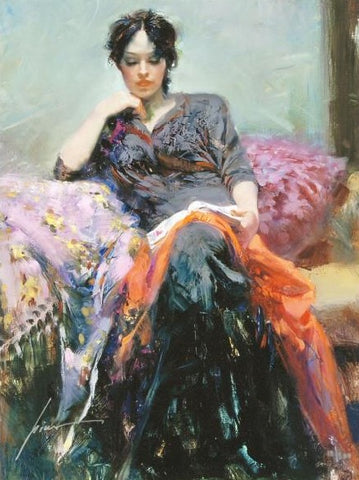Her Favorite Book Pino Daeni Canvas Giclee Print Artist Hand Signed and Numbered