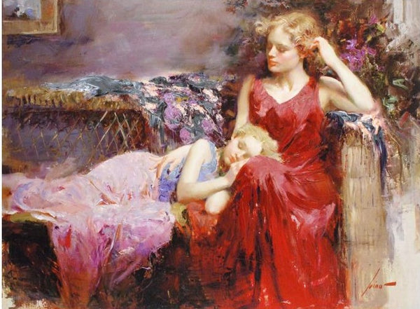 A Mothers Love Pino Daeni Canvas Giclee Print Artist Hand Signed and Numbered