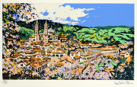 Vie of Taxco Paul Blaine Henrie Serigraph Print Artist Hand Signed and Numbered