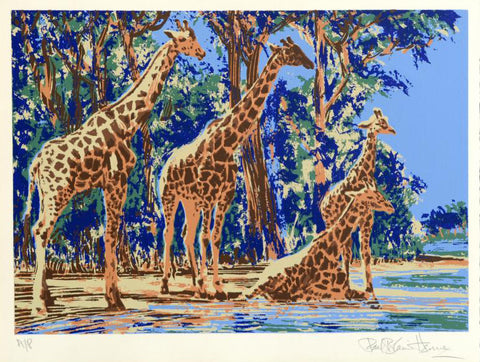 Giraffe Lake Paul Blaine Henrie Fine Art Artist Proof Serigraph Print Artist Hand Signed and AP Numbered