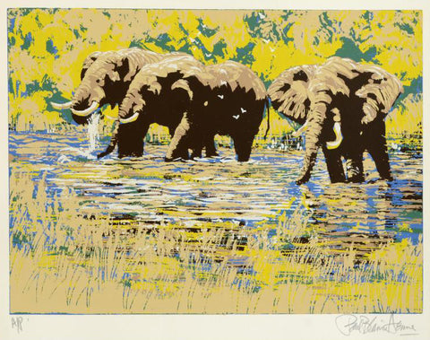 Paul Blaine Henrie Elephant River Fine Art Serigraph Print Artist Hand Signed and Numbered