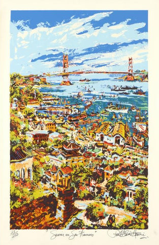 Sunrise on San Francisco Paul Blaine Henrie Serigraph Print Artist Hand Signed and Numbered