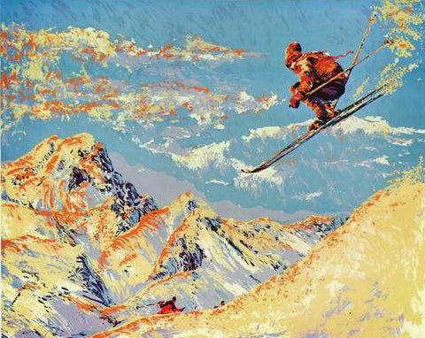 The Sunset Skier Paul Blaine Henrie Printers Proof Serigraph Print Artist Hand Signed and PP Numbered