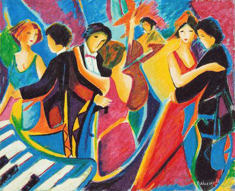 The Tango Club Philip Maxwell Canvas Serigraph Print Artist Hand Signed and Numbered