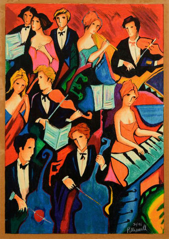 Philip Maxwell The Orchestra Fine Art Canvas Serigraph Print Artist Hand Signed and Numbered