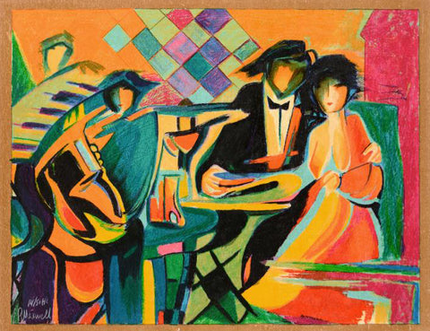 The Jazz Club Philip Maxwell Fine Art Canvas Serigraph Print Artist Hand Signed and Numbered