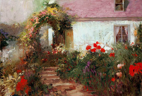 Pino Daeni Colorful Archway Fine Art Giclee Print Artist Hand Signed and Numbered