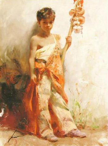 Pino Daeni The Young Peddler Fine Art Giclee Print Artist Hand Signed and Numbered