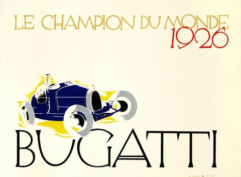 Bugatti Le Champion du Monde RE Society Hand Pulled Lithograph Print Lithographer Hand Signed and Numbered