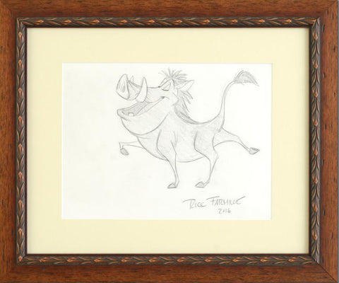 Pumba Rick Farmiloe Original Pencil Sketch on Paper Artist Hand Signed Framed