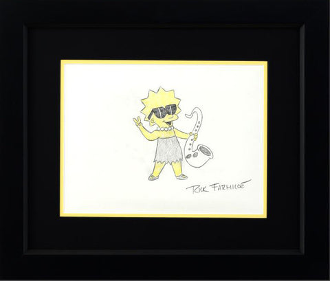 Rick Farmiloe Original Color Pencil Sketch Lisa Simpson Artist Hand Signed Framed