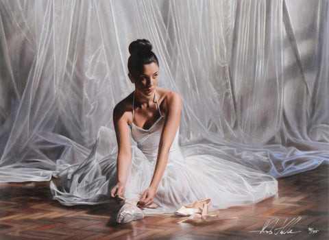 Light Through the Curtain Rob Hefferan Hand Embellished Fine Art Canvas Giclee Print Artist Hand Signed and Numbered