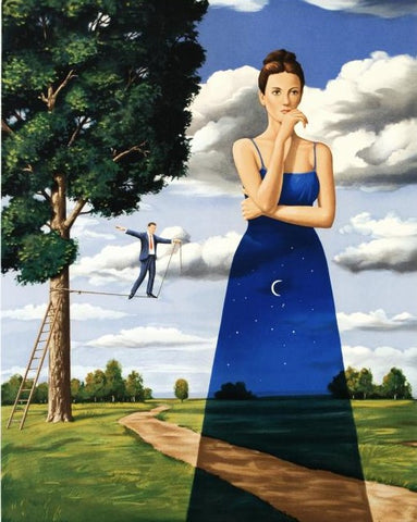 Midsummer Marriage Rafal Olbinski Hand Pulled Lithograph Print Artist Hand Signed and Numbered