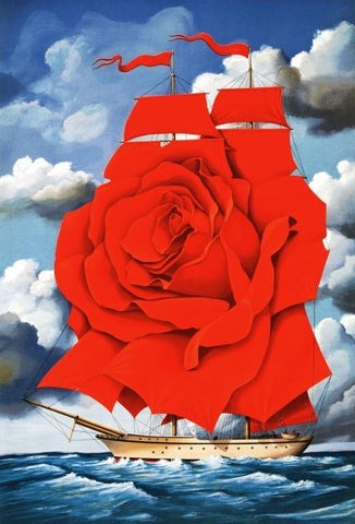 Red Rose Ship Rafal Olbinski Hand Pulled Lithograph Print Artist Hand Signed and Numbered