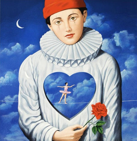 Explicit Introspection Rafal Olbinski Hand Pulled Lithograph Print Artist Hand Signed and Numbered
