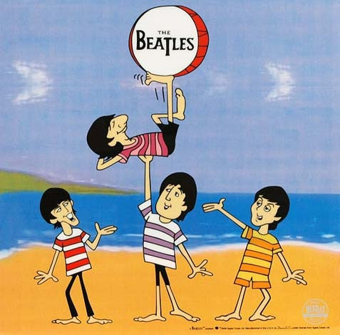 Boys Beatles Cartoon Sericel by Dennilu Company with a Full Color Lithograph Background