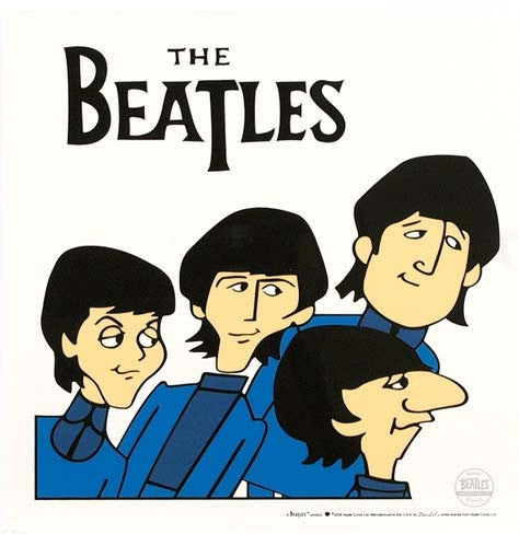 Beatles Posing Sericel with Full Color Lithograph Background by Dennilu