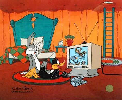 Just Fur Laughs Chuck Jones Artist Proof Hand Painted Animation Cel Artist Hand Signed with Full Color Lithograph Background