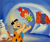Fred Tossing Pebbles Hanna Barbera Animation Art Sericel and Full Color Lithograph Background Framed