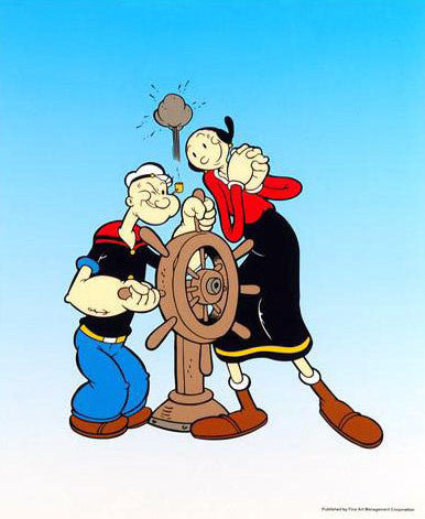King Features Popeye Captains Wheel Sericel with Full Color Lithograph Background