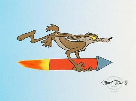 Chuck Jones Wile E Coyote on Rocket Sericel Artist Stamped Signature