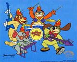 Tra La La Hanna Barbera Animation Art Banana Splits Sericel with a Full Color Lithograph Background Framed