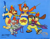 Hanna Barbera Animation Art Tra La La Banana Splits Sericel with a Full Color Lithograph Background