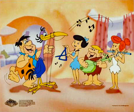Fred Plays the Harp Hanna Barbera Animation Art Sericel and Full Color Lithograph Background
